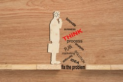 Conceptual of problem solving, overcoming challenges and using ideas, solution showing problems solving using brain by thinking and creativity. Wooden blocks and businessman