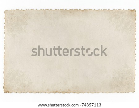 Conceptual old paper background isolated on white