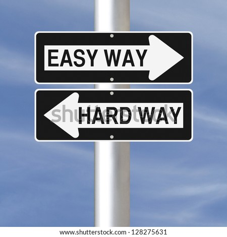 Conceptual one way road signs on choice and decisions