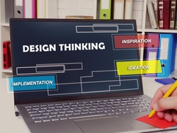 Conceptual photo about  design thinking inspiration ideation implementation with written text.