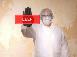 Conceptual photo about LEEP Loop electrosurgical excision procedure with written text.
