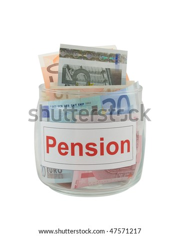 Conceptual photo of a pension. Euro banknotes in a glass jar isolated over white.
