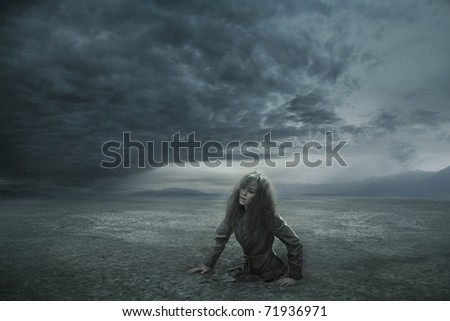Conceptual photo of outgoing woman from the ground
