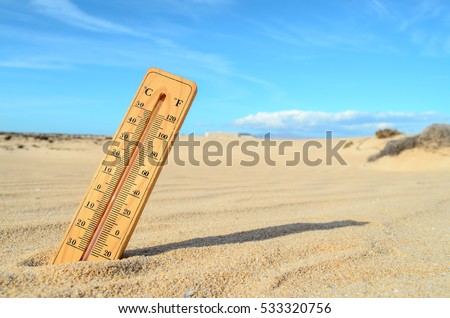 Conceptual Photo Picture of a Thermometer Object in the Dry Desert