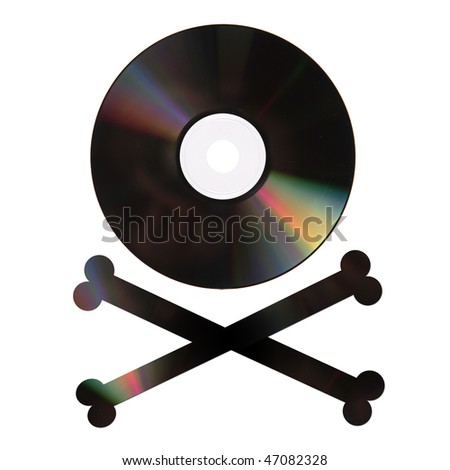 Conceptual photo representing a pirate copy DVD (or CD, etc) isolated on white