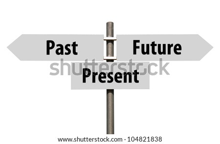 conceptual picture of a signpost with past, present and future isolated on white background (all signs cleaned on grey)
