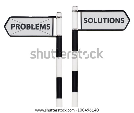 conceptual picture with solutions and problems road signs isolated on white background