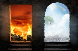 Conceptual purgatory portal to heaven and hell. Religious theme concept.