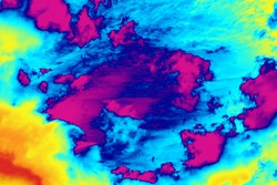Conceptual rainbow colored background of thermal clouds weather report forecast thermal screen radar imaging