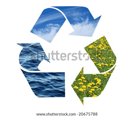 Conceptual recycling sign with images of nature, isolated on white.