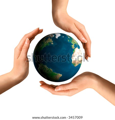 Conceptual recycling symbol made from hands over Earth globe Environment and ecology concept