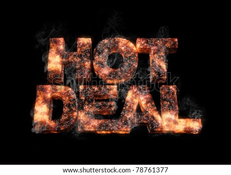 conceptual render of an smoking HOT DEAL made of hot iron / Hot Deal / with smoke on black