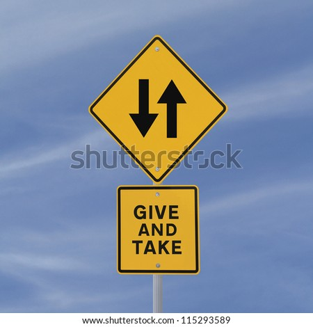 Conceptual road sign (against a blue sky background)