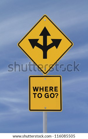 Conceptual road sign on choices or making decisions (against a blue sky background)