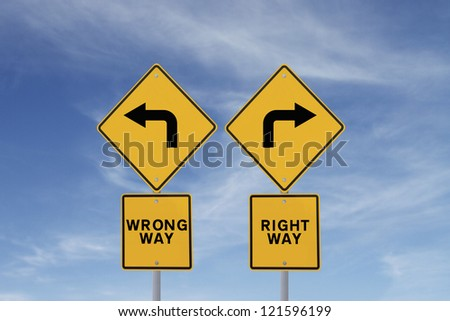 Conceptual road signs against a blue sky background.