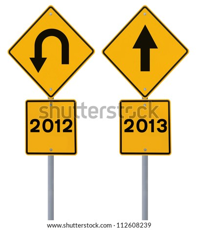 Conceptual road signs on the new year (isolated on white)