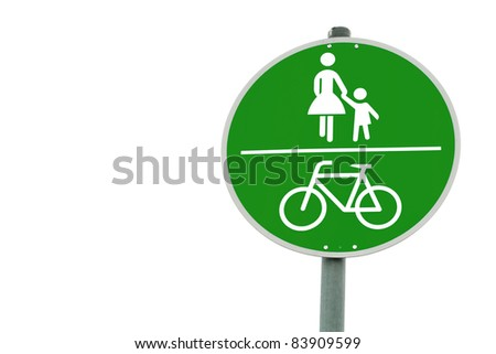 Conceptual shot of a traffic sign signaling emission free, thus green, transportation