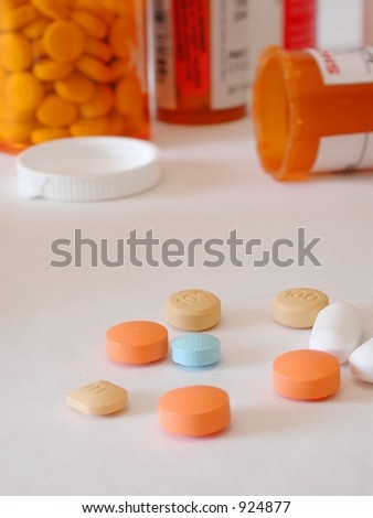 conceptual shot of too much medication or addiction