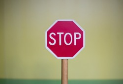 Conceptual sign of warning. Stop sign of danger. Warning signal of prohibition.