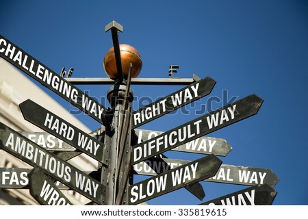Conceptual sign post.  Directional sign with mixed messages, correct way, difficult, slow, challenging, hard, ambitious, wrong, fast way,etc