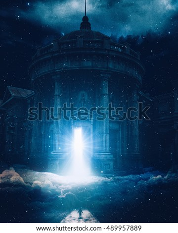 Conceptual spiritual art. Silhouette of a man at the road at night standing in front of huge stone building in clouds with open door full of light and stars. Life, death, reincarnation, soul, believe.