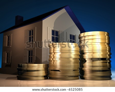 Conceptual stack of golden coins and a house - 3d render