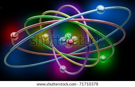 Conceptual structure of atom on black background 3d render illustration