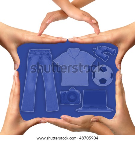 Conceptual suitcase made from female hands with clothes laptop binocular camera and a soccer ball inside Isolated silhouette on white background Photo-illustration