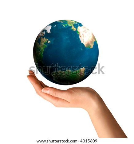 Conceptual symbol of a hand holding Earth globe Environment and ecology concept