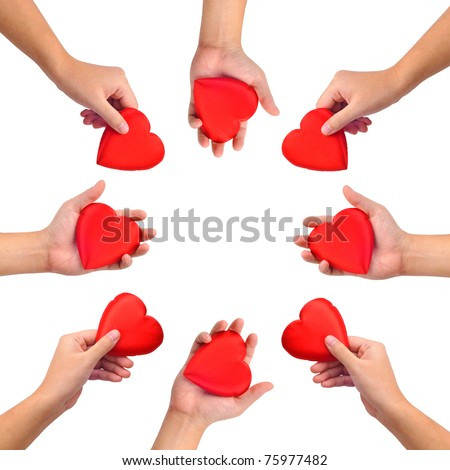 Conceptual symbol of love, hand with heart isolated on white with  a copy spa