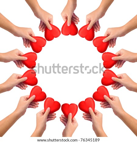 Conceptual symbol of love, hand with heart isolated on white with  a copy space in the middle