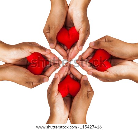 Conceptual symbol of love with hand and  heart isolated on white background