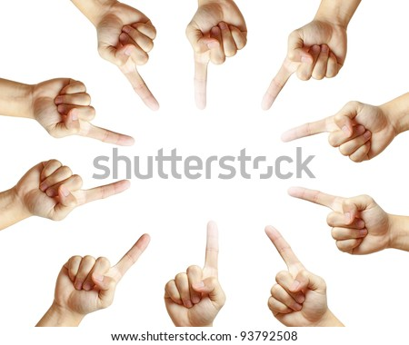 Conceptual symbol of male hand pointing on white background with a space in the middle