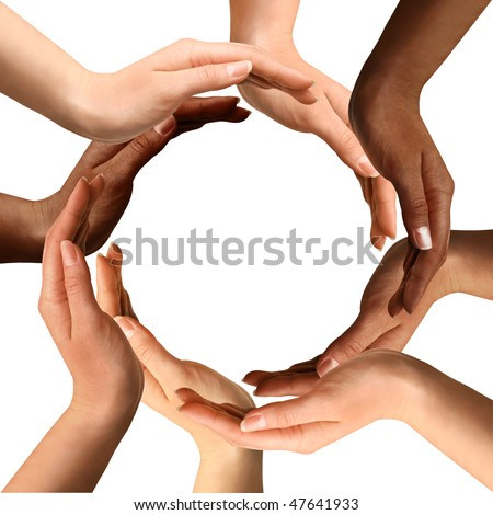 Conceptual symbol of multiracial human hands making a circle on white background with a copy space in the middle #47641933