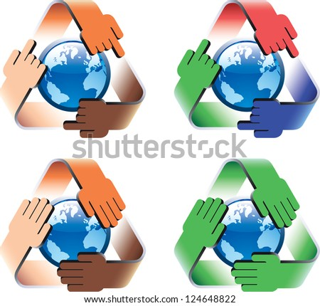 Conceptual symbol of multiracial saving the world. Illustration based on the international recycling symbol. Raster. Check my portfolio for a vector version.