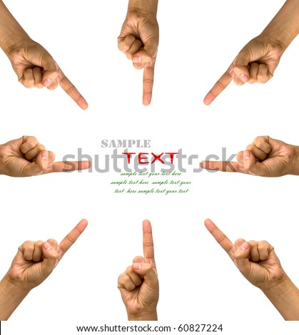 Conceptual symbol of woman hand pointing on white background with a space in the middle