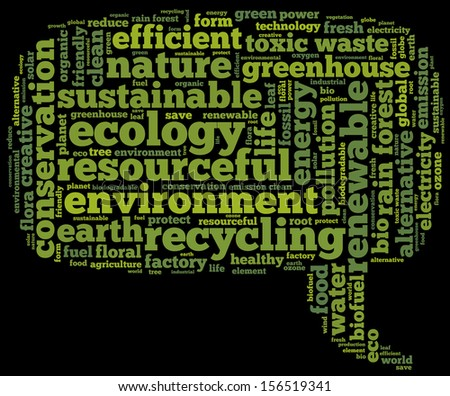 Conceptual tag cloud containing words related to ecology, environment, pollution, renewable resources, recycling, conservation, efficiency in the form of a callout on black background, pointing right