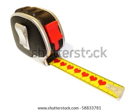 conceptual tape measure with red heart isolated on white