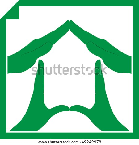 Conceptual vector illustration of a house symbol made from hands - stock photo