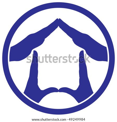 Conceptual vector illustration of a house symbol made from hands isolated on white background