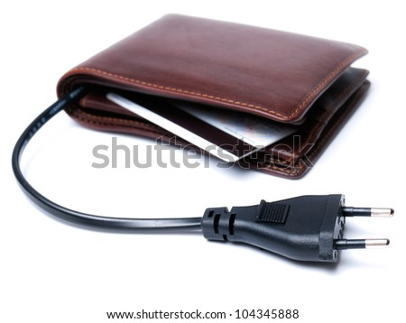 Conceptual view of a wallet with the cable and plug as a symbol of consumption.