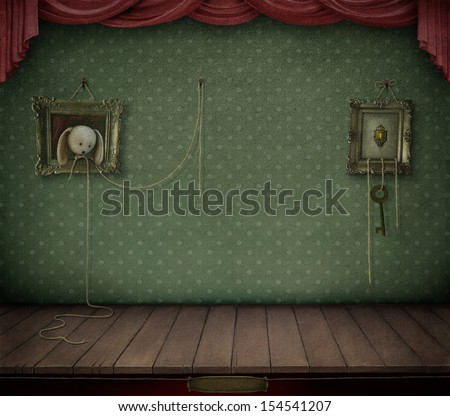 Conceptual vintage background with frame and toys.