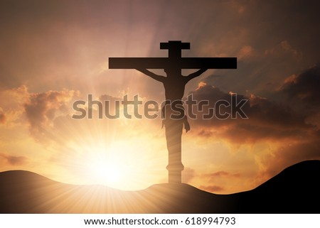 Conceptual wood cross or religion symbol shape over a sunset sky with clouds background for God, belief or resurrection. Worship, Christ, Christianity, religious, faith, holy, spirit, Jesus