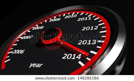 Conceptual 2014 year speedometer