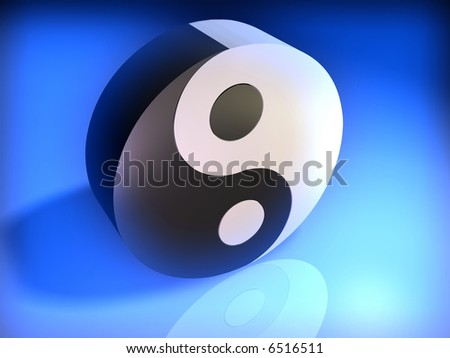 Conceptual Yin Yang cubic simbol on glowing blue background - 3d render