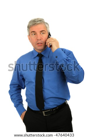 concerned businessman talking on the phone isolated