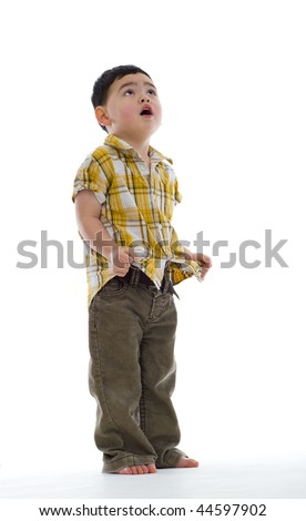 concerned cute boy looking up, isolated on white