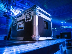 Concert activity. Transportation equipment. Box with metal corners. Boxes for transportation of equipment.