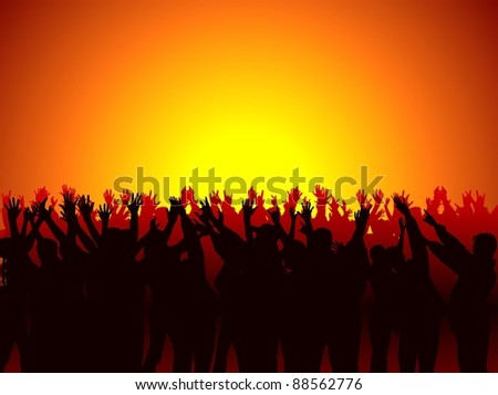 Concert Audience - Background with silhouettes - stock photo