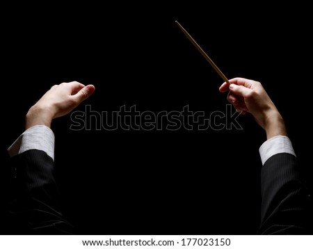 concert conductorwith a baton...